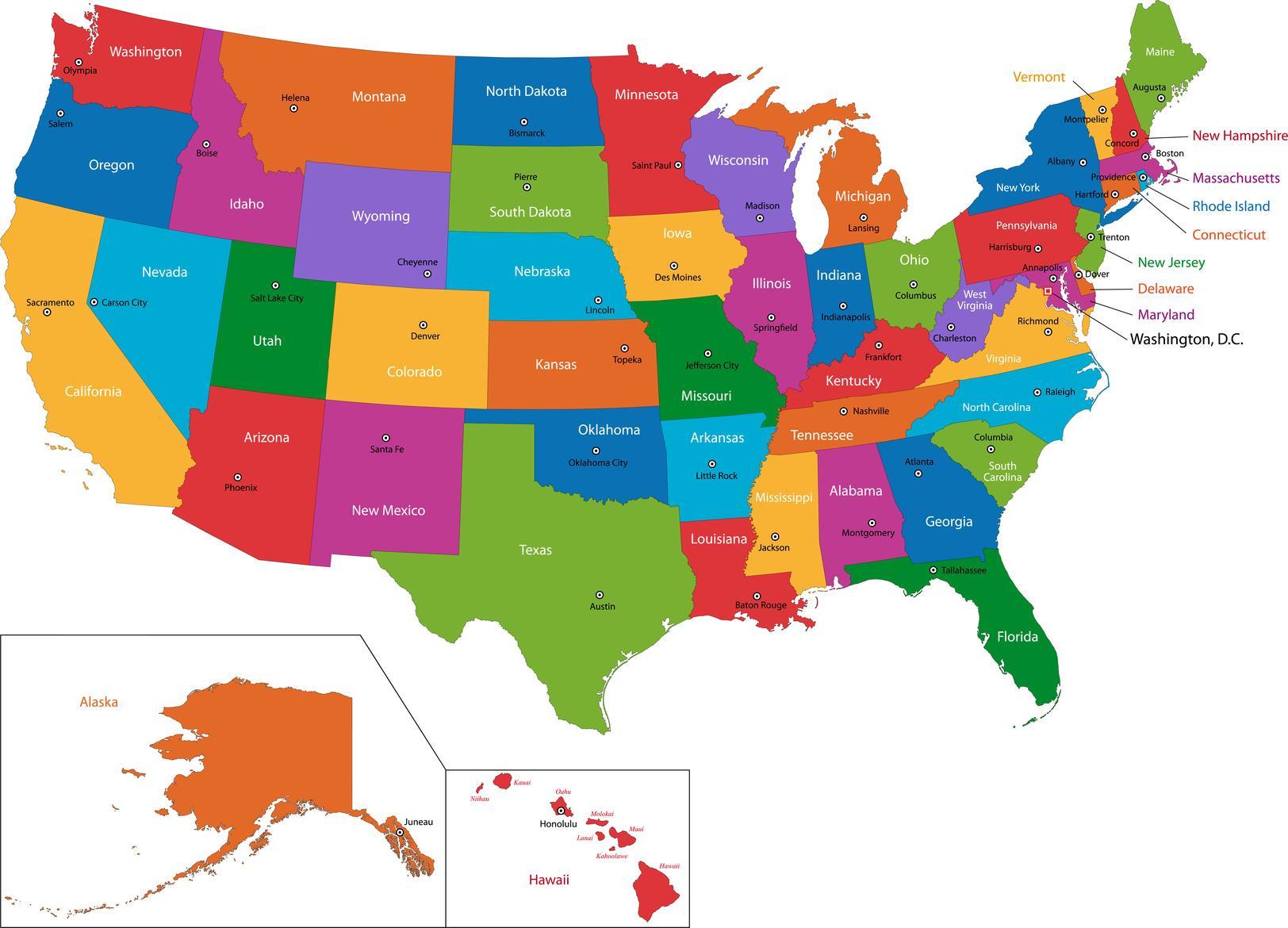 Mapa Dos Eua Com Os Estados E Capitais Mapa Dos Eua Com Os Estados E Capitais America Do Norte Americas